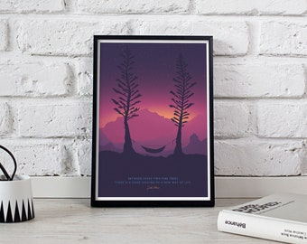 TWO PINES DUSK Hammock • 8x10 • Giclee Fine Art Poster • Outdoors Camping Quote Hiking Print for Mountain Home decor