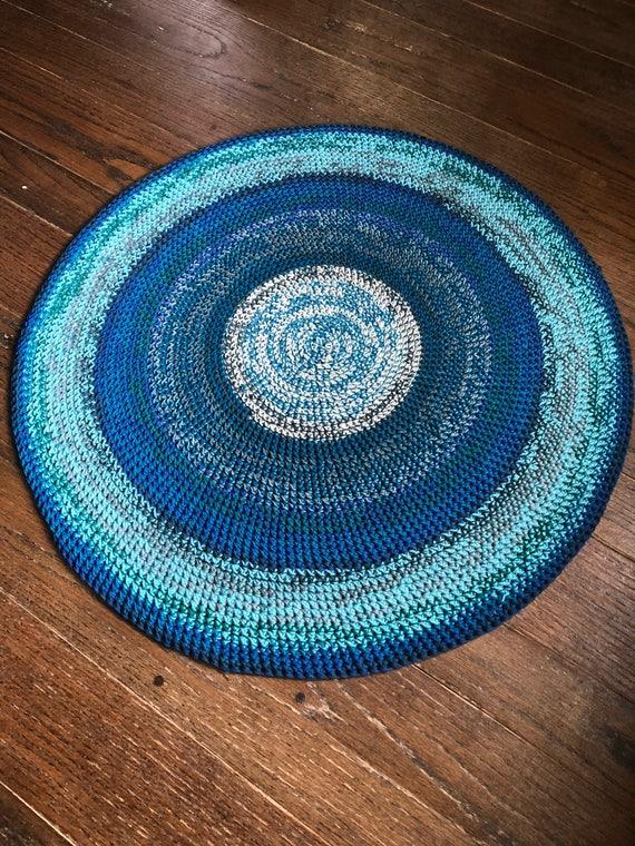 Runder Teppich häkeln / blau Teppich / Runde Teppich /
