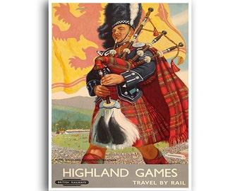 Scotland Art Print Travel Poster Retro Scottish Home Decor (XR786)