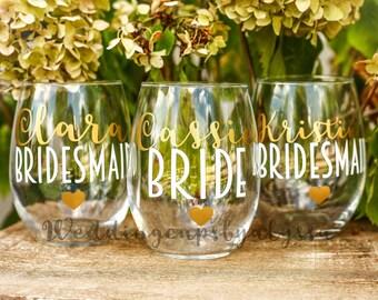 bridesmaids cups, bachelorette cups, wedding cups, initial wine glasses, custom wine glass, custom wedding gift, bachelorette cup