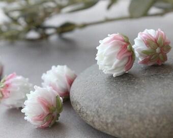 Lampwork Beads, Clover Flower Bead, 1pc Glass Flower Bead, Lampwork Flower Beads Made to order