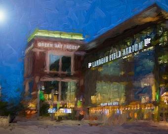 Lambeau Field decor, Packers Decor, Green Bay Packers, Packers Print, Large Wall Art Print, Man Cave, Packers Art, Night time Lambeau