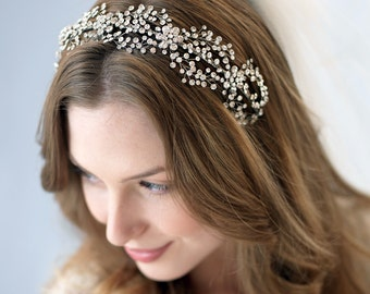 Bridal Headband, Antique Silver Wedding Headband, Bridal Headpiece with Rhinestones in Floral Design, Crystal Bride Accessory ~TI-3228
