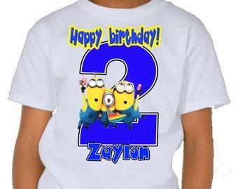 MINIONS Birthday Shirt  Boy T-Shirt for ages 1,2,3,4,5,6,7,8,9,10.