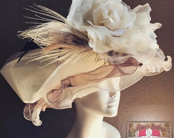Brown Tan Beige Cream Off White Vanilla Tulle Flower Silk Velvet Rose Church Hat Contest Easter Kentucky Derby Royal Ascot Bridal Wedding