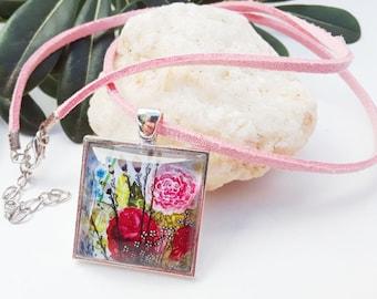 Watercolor Rose Necklace Art Glass Cabochon Pendant Square Glass Dome Necklace Pink Necklace Rose Pendant Picture Pendants Gifts under 20