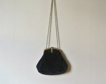 Vintage Navy Blue Handbag - Dark Blue Vintage Purse
