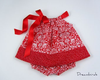Baby Girls Red Dress and Bloomers Outfit - Red Floral Damask Dress - Infants Red and White Sun Dress - Size Nb, 3m, 6m, 9m, 12m or 18m