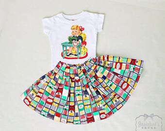 Sewing Girl Outfit - Sister Retro Seamstress Outfit - 6m to 12y - Bias Tape Fabric Skirt - Retro Sewing Skirt - Retro Sewing Machine Tee