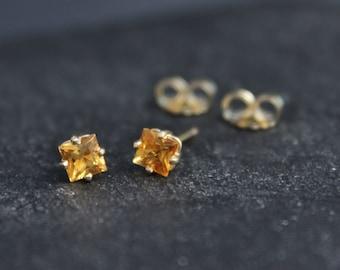 Princess Cut Citrine 14k Yellow Gold Stud Earrings, November Birthstone Earrings, Citrine Gemstone Studs, Ready to Ship Earrings