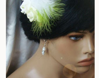 lime green white rose hair comb
