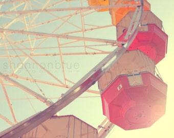 ferris wheel carnival photography / carnival ride, sunlight, amusement park photography, red, yellow, fun / 8x10 photograph