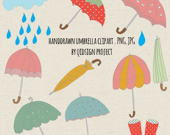Hand Drawn umbrella clipart rainy day clipart for scrapbooking invitation personal and commercial use instant download