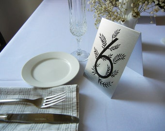 Metal table numbers freestanding for weddings/events/parties-Floral