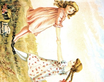 S.J. Brigham - 1890 - Two Little Girls Playing RING AROUND the ROSIE  - Girl w Braids -  Professionally Matted Antique Lithograph Art Print