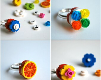 Play Day Lego Round Red Ring - Build Your Own Lego Jewelry - Create Play Pretend - Flower Ring - Upcycled - Kid Jewelry - Tweens