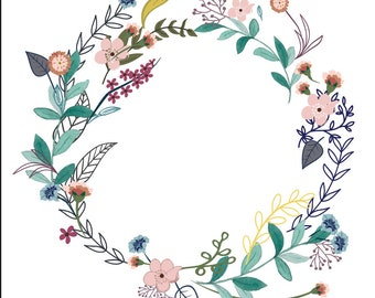 VECTOR floral hipster wreath