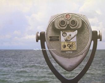 Ocean Binoculars Photo, Travel Photography, Blue Gray Silver Monochromatic Wall Art, Tropical Beach House Coastal Home Decor Wall Art