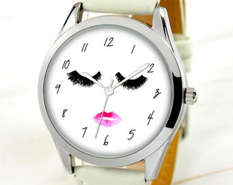 Eyelashes Watch - Women's Watch - Unique Gifts For Girls - Cute Gifts For Girlfriend - Birthday Gift For Mom - Funny Gifts