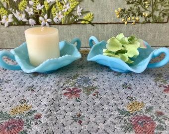 Blue Glass Bowl Fenton Blue Satin Glass Blue Candy Dish Turquoise Decor Blue Wedding Centerpiece Candy Buffet Rare Fenton Glass Butterfly