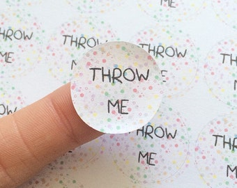 50 Throw Me Round Confetti Seal Stickers Wedding Favor Bag Party Rainbow Polka Dots Cute Sticker Matte United Kingdom anniscrafts