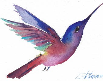 Aceo Original Watercolor Painting Hummingbird 72 Home Decor Fine Art