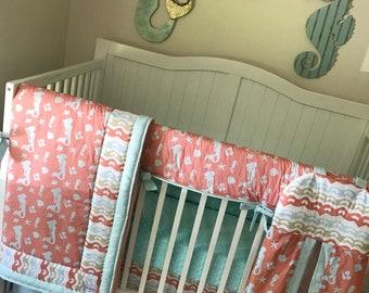 Baby Bedding Crib Sets Mermaid Ocean Theme Coral Aqua Sand Seashells Seahorse