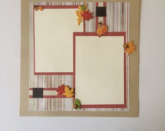 Fall Leaves Autumn Premade Scrapbook Pages
