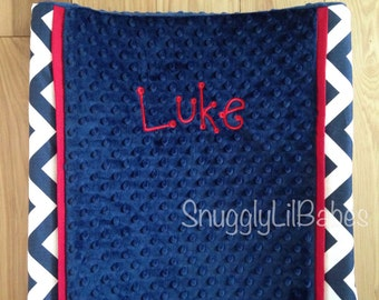 Navy chevron, red changing pad cover, navy minky dot