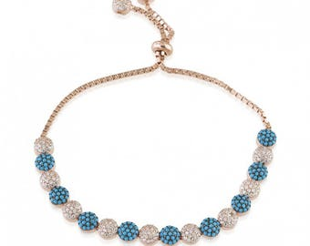 Crystal Turquoise Bead Bracelet 18K Gold filled .925 Sterling Silver