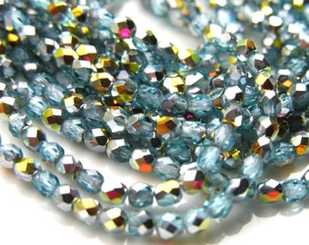 Aquamarine Marea 4mm Faceted Round Czech Glass Fire Polish Beads   50