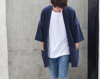 Men's Navy Japan Kimono Cardigan, Man Noragi Coat, Unisex Oversized Street Haori Jacket, Fall Streetwear, Loose Style Yukata Overcoat