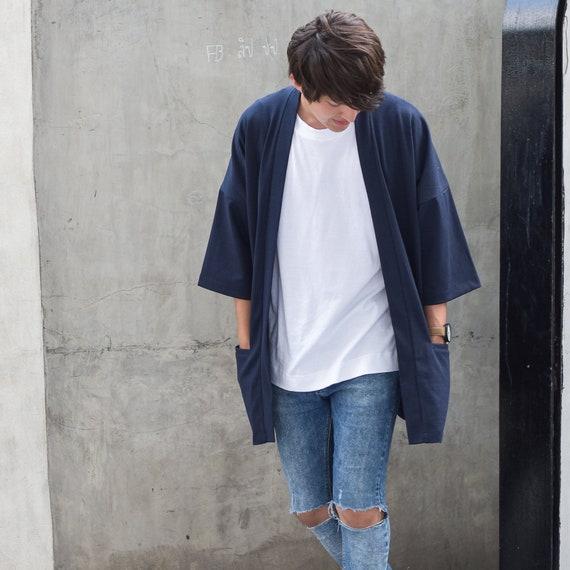 Men's Navy Japan Kimono Cardigan, Man Noragi Coat, Oversized Street Haori Jacket, Unisex Streetwear, Loose Style Yukata Overcoat