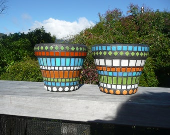 Happy Stripes Mosaic Planter in Aqua, Orange, Lime and White  MADE TO ORDER