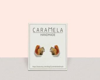 Squirrel Stud Earrings Forest Nature Earrings Woodland stud earrings Gift idea
