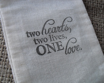 Favor Bags - SET OF 10 3x5 One Love Wedding Muslin Favor Bags Gift Bags or Candy Bags - Item 1230