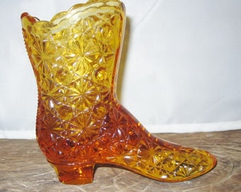 Vintage Fenton Amber Glass Shoe Boot - with button daisy pattern and marked logo - authentic with original paper sticker -1950s