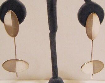 Vintage Betty Cooke Modernist Sterling Silver Kinetic Earrings