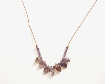 SPINEL + AMETHYST Necklace / FEBRUARY Birthstone /  Gemstone Necklace / Short Necklace / Boho Style / Layering / Folkloric Jewelry