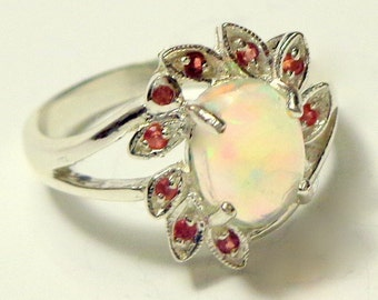 Sz 6.5, Welo Opal Ring,Natural Gemstone,Sterling Silver Ring,Ethiopian Opal Ring,Ruby Accents,Flower Ring,Fine Jewelry