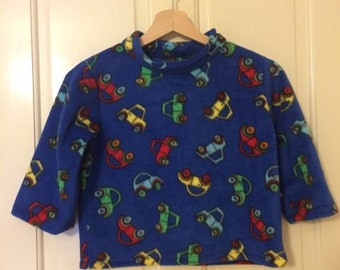 Fleece sweatshirt, royal blue with cars, 2 years