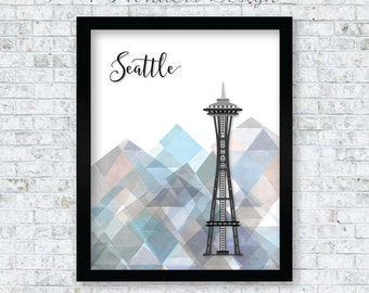 Seattle Space Needle with Geometric Water Color Mountains Wall Art Print, Seattle, WA Artwork, 5x7, 8x10, 11x14, 13x19 or 16x20 - UNFRAMED