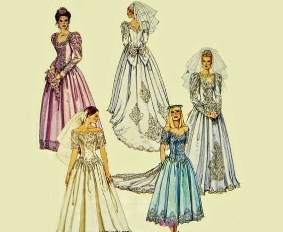 Vintage Wedding Dress Patterns Victorian Style Drop Waist