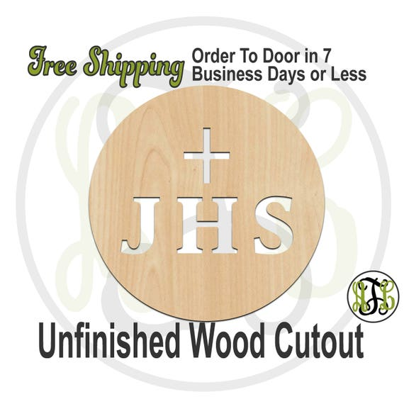 JHS with Cross- 290045- Host Cutout, unfinished, wood cutout, wood craft, laser cut wood, wood cut out, Door Hanger, Balance, wooden sign