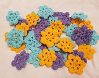 Handmade crochet flowers. crochet flower. 7 flowers. DIY