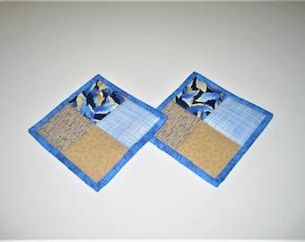 Hot Pads Blue Beige (Set of 2)