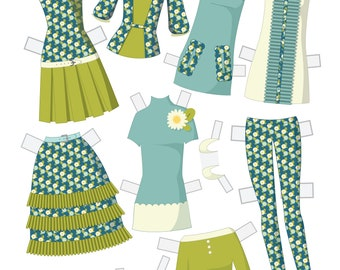 Build Your Own Set Instant Download Paper Doll Wardrobe - Sweet Daisies