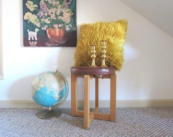 Vintage Modern Stool // Mid Century Round Vanity Seat or Small Footstool Geometric Wooden Legs Brown Vinyl Modern of Gardner