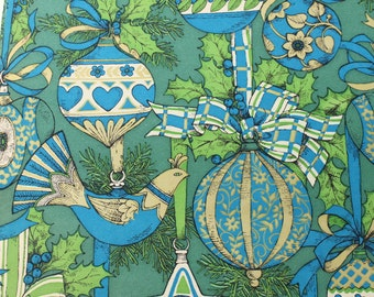 Vintage Mod Christmas Gift Wrapping Paper, Blue Green Gold Ornament Partridge, 1 sheet