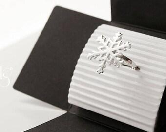 Handmade  Silver Snowflake Ring.